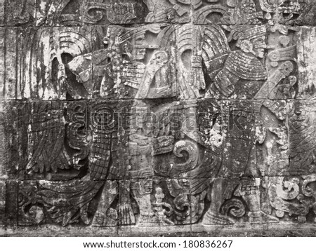 stone relief detail  in Chichen Itza, a archaeological site in Yucatan, Mexico - stock photo