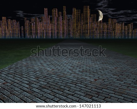 Stone road outside of city - stock photo