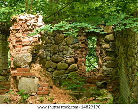 Stone ruins of the old building - stock photo