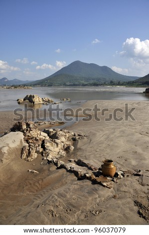 Stone Sand Nature Creel River Outdoor - stock photo