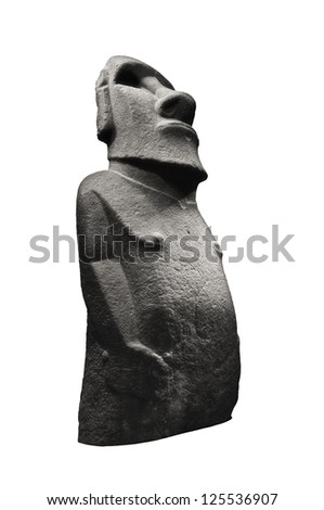 Stone sculpture of a Moai statue - stock photo