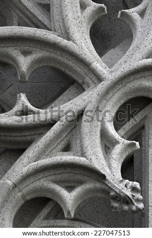 Stone sculptured ornament of a gothic church - stock photo