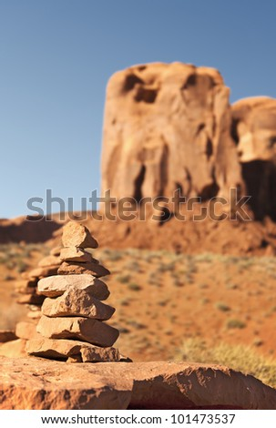 Stone stack. Monument Valley, Utah, USA. Intentional shallow depth of field. - stock photo