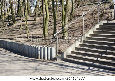 Stone staircase at a park - stock photo