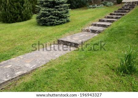 stone staircase in the garden - stock photo