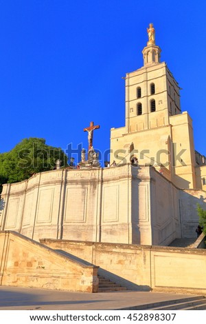 Stone stairs in front of the Avignon Cathedral, Provence, France - stock photo