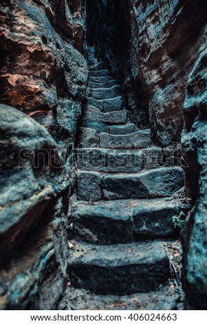 Stone stairs in high mountains. - stock photo