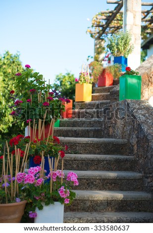Stone stairs with flowers in front of house entrance. - stock photo