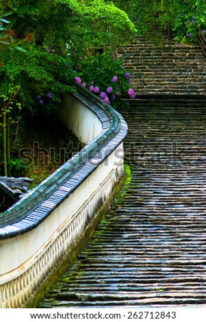 Stone steps at Hase dera temple  - stock photo