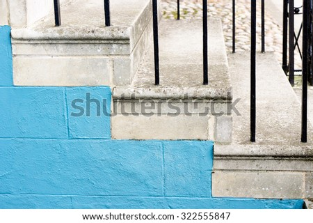 Stone steps at the entrance to a town house - stock photo