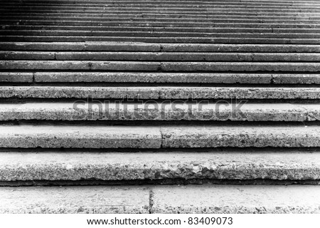 stone steps in black and white - stock photo