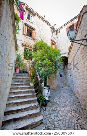 Stone streets of old Trogir, Dalmatia, Croatia - stock photo