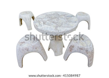 stone table set  isolated on white background,clipping path - stock photo