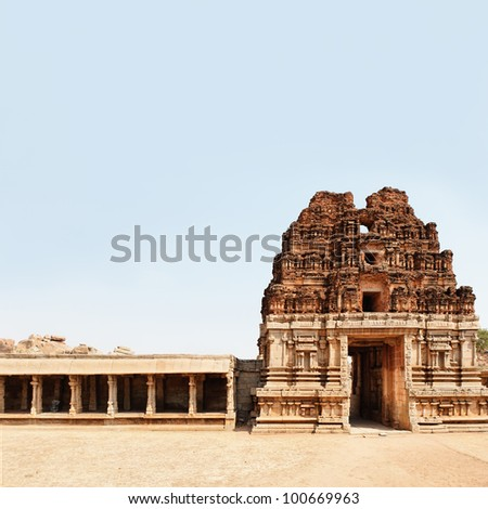 Stone temple of Hampi town - stock photo