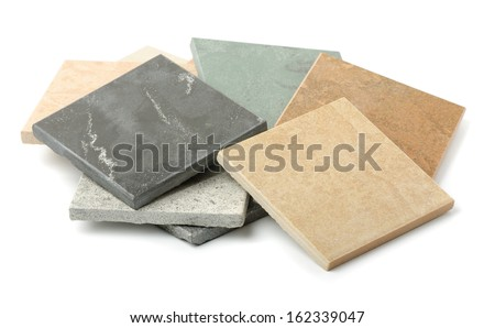Stone tiles samples isolated on white - stock photo