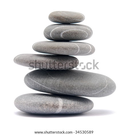 stone tower isolated on wihte - stock photo