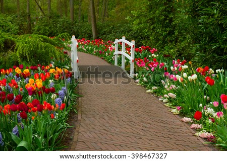 Stone walk way winding in spring  garden with green grass and blooming flowers, Keukenhof, Holland - stock photo