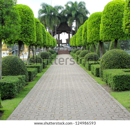 Stone  walkway in the park - stock photo