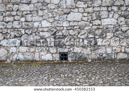 stone wall and floor for texture  or background - stock photo