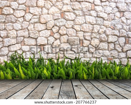 Stone wall and fox-tail on wood floor Room interior modern style - stock photo