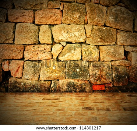 Stone wall background - An old stone wall makes an excellent background - stock photo