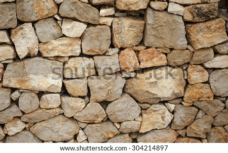 Stone wall background for texture with space - stock photo