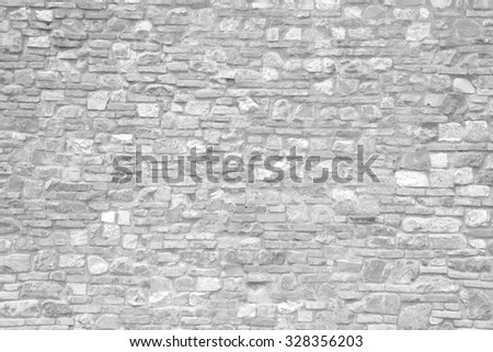 stone wall in Black and white - stock photo