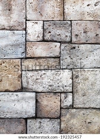 Stone wall rustic background white limestone texture - stock photo