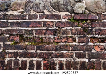 stone wall, wall of bricks, stained - stock photo