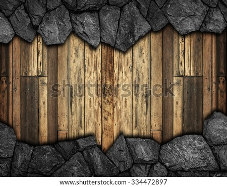 stone wall with hole for background - stock photo
