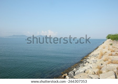 stone wave barrier  - stock photo