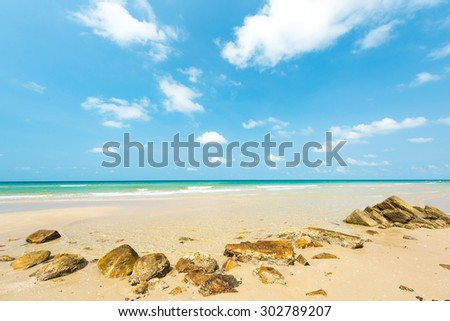 Stone with beautiful sandy beach at Koh Chang Island , Thailand - stock photo