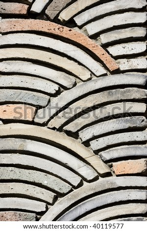 Stone work in a Korean Restaurant. The stone work forms a pleasing pattern. - stock photo