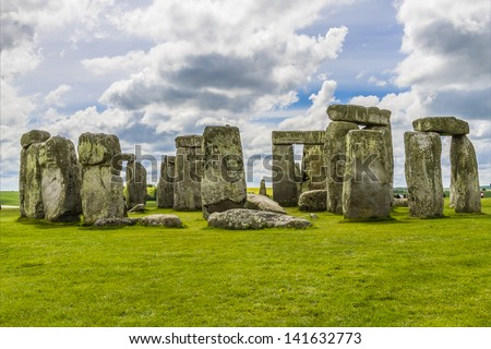 Stonehenge an ancient prehistoric stone monument near Salisbury, Wiltshire, UK. It was built anywhere from 3000 BC to 2000 BC. Stonehenge is a UNESCO World Heritage Site in England. - stock photo