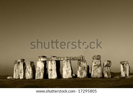 Stonehenge in sepia at dawn - stock photo