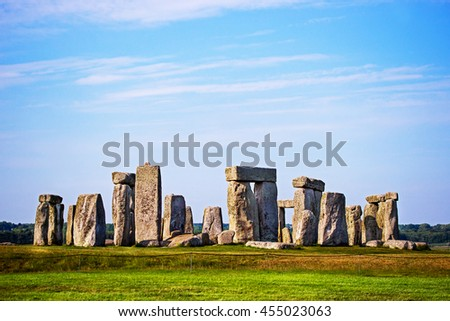 Stonehenge in Wiltshire in Great Britain in cloudy weather. It is a prehistoric monument, in Wiltshire in South West England. It is under protection of UNESCO. - stock photo