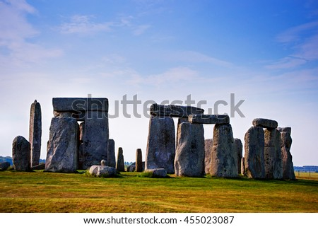 Stonehenge of Wiltshire in the Great Britain in cloudy weather. It is a prehistoric monument, in Wiltshire in South West England. It is under protection of UNESCO. - stock photo