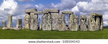 Stonehenge Panorama - UNESCO world heritage site - stock photo