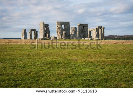 Stonehenge temple on a bright day in Wiltshire, England, UK - stock photo