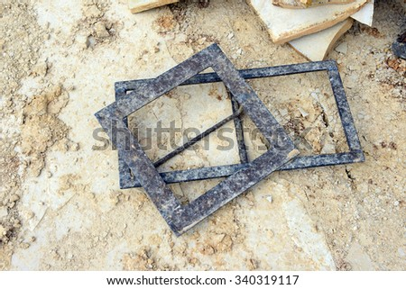 stonemason instruments to create paving stones. limestone. Solnhofen - stock photo