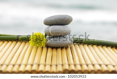 Stones and bamboo grove with daisy flower on mat - zen concept - stock photo