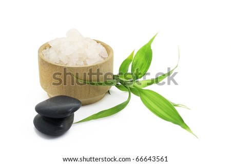 Stones and salt for spa with green bamboo - stock photo
