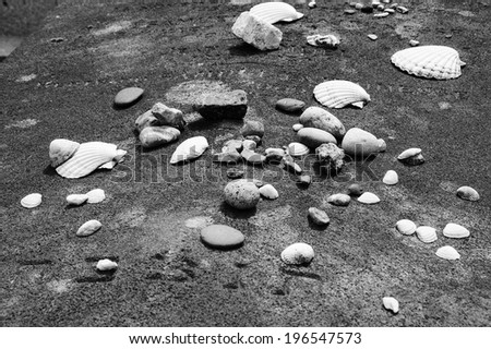 "Stones and shells of remembrance on old Jewish tomb. Carved Hebrew acronym for ""May his/her soul be bound in the bundle of life"".  Montparnasse Cemetery in Paris (France). Aged photo. Black and white. - stock photo"