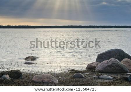 Stones on coast of Baltic sea - stock photo