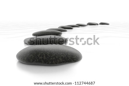 Stones on White Sea - Isolated Object on Background - stock photo