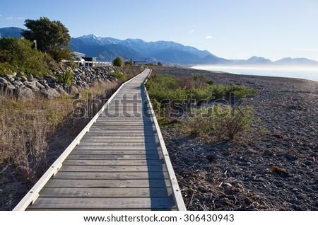 Stony coast in Kaikoura, New Zealand  - stock photo