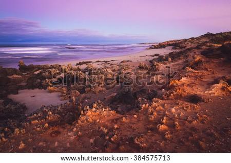 Stony Rise Beach sunrise Little Dip Conservation Park South Australian Limestone Coast - stock photo