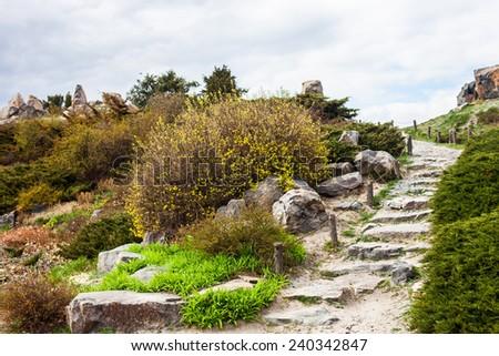 Stony stairs in the rockery in Kyiv botanical garden. - stock photo
