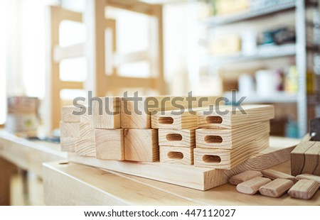 Stool making in woodworking workshop. - stock photo
