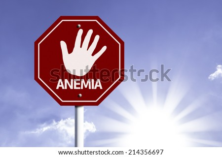 Stop Anemia red sign with sun background  - stock photo
